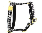 Designer dog harness COCO  - designer harness handmade classic black and white pattern - matching leash available