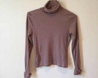 30% OFF SALE - Purple Striped Turtleneck