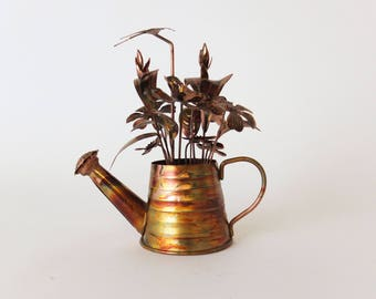 Rustic Watering Can Music Box with Flowers, Brutalist Sculpture- Anodized Metal Chinese Craftsmen - Song Edelweiss