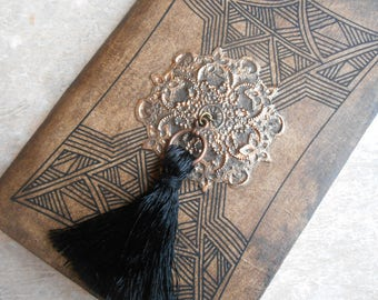 Diary - notebook - logbook - ethnic book - book to the Pompom