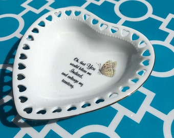 Heart shaped trinket holder, jewelry, heart dish, ring holder, catch all, gift, butterfly dish, bible quote   ***FREE SHIPPING