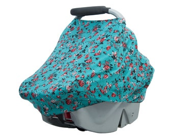 Stretchy Car Seat Cover / Floral / Nursing Cover