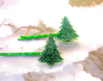 Christmas Hair Clips, Christmas Tree Hair Clips, Christmas Hair Accessories, Holiday Hair Clips, Stocking Stuffer