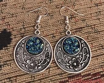 Titanium druzy quartz blue and silver flower dangly earrings