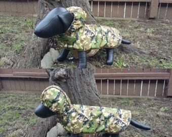 camo dog raincoat