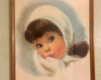 Northern Tissue Print Little Girl Dark Hair with Hat and Mittens