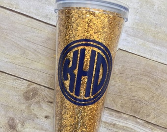 GOLD GLITTER Personalized Tumbler,  Bridal Party, Bride, Teacher, Double Walled, Party Cup,  Beach Cup, Bachelorette Party, Girls Trip