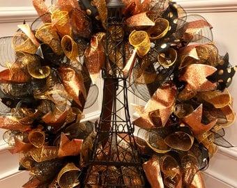 Eiffel Tower Wreath, Paris Wreath, Door Hanger, Deco Mesh Wreath, Paris Door Hanger, Eiffel Tower Door Hanger