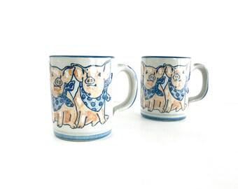 Vintage Louisville Stoneware Precious Pigs Mugs