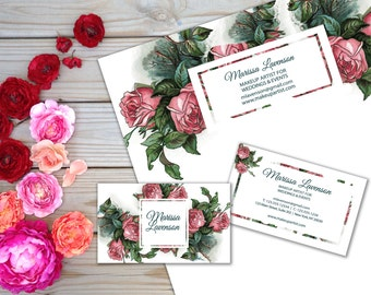 Pink Rose Business Card Template and Letterhead Design Stationery Set Template Double Floral Brand Identity Marketing Post-in Notes