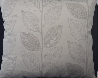 Handmade cushion cover with invisible zip, leaf design
