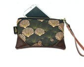 Mini Black & Blush Sea Shells Zipper Pouch / Clutch with inside lining and Zipper Pull or Leather Wristlet Strap
