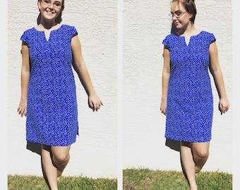 Vintage Dress   Vintage Mini Dress   Shift Dress   Blue Polka Dress