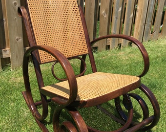Vintage Thonet Style Rocking Chair Bentwood & Cane Rocker Mid Century MCM Antique