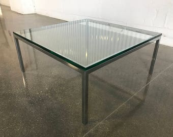 Early Florence Knoll Coffee Table Chrome Base Glass Top Vintage Mid Century Modern MCM Retro