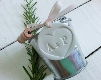 Personalized Wedding Faour Tag with Heart