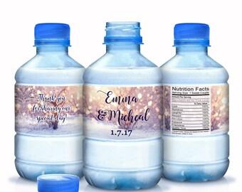 Winter Wedding Decor - Snowflake Wedding Decor - Snowflake Water Bottle Labels - 30 Bottled Water Labels - Waterproof Labels