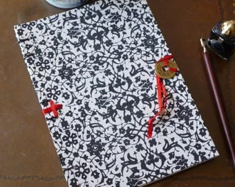 Hand bound A5 blank book, black and white floral pattern notebook with Chinese coin fastening, monochrome journal