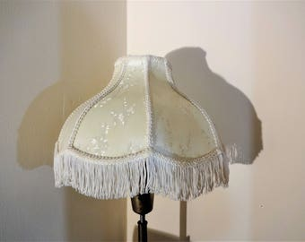 Vintage Victorian Style Ivory Brocade Lamp Shade with Fringe - Bell Shaped - Victorian Fringed Lamp Shade - Silk Brocade