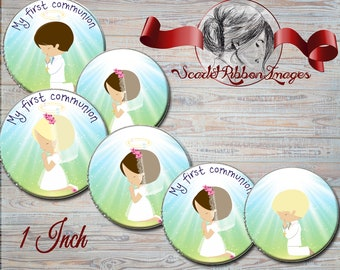 First Communion Bottle cap images  1 inch images. First Communion boy and girl set of 15 images for bottle cap projects and cupcake toppers