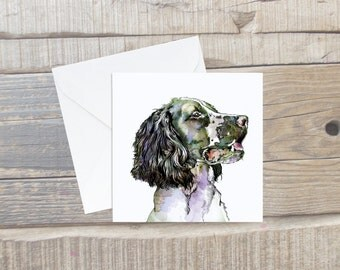 Springer Spaniel Card with Envelope - Square Card - Dog Lover Card Gift - Spaniel Birthday Card - Dog Birthday Card - Spaniel Card
