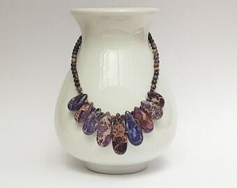 Purple Jasper Bib Necklace, Purple Jewelry, Gemstone Jewelry, Australian Made, Chakra Necklace, Purple Gemstone Necklace, Statement Necklace