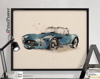 Shelby AC Cobra print, Cobra 1962 poster, Classic cars watercolour poster, Gift for him, Vintage cars, Wall art, Home Decor iPrintPoster