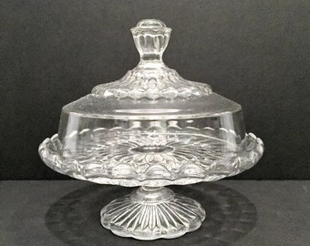 Petite Crystal Cake Stand and Cover Dish