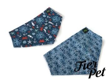 kerchief,Bandana,kerchief collar bandana , ocean,ancre,sea horse, fier pet, dog collar,large dog,accessories,spring