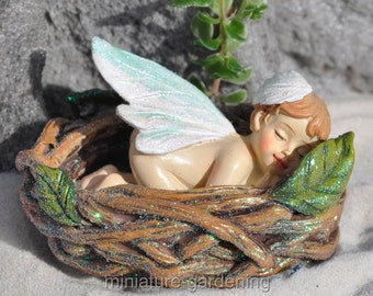 Fairy Baby in a Branch Nest for Miniature Garden, Fairy Garden