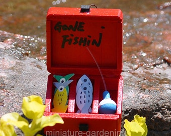 Gone Fishing Tackle Box for Miniature Garden, Fairy Garden