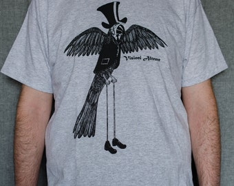 Dandy Parrot, surreal, victorian silkscreen tshirt