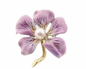 Art Nouveau 14K Gold Enamel & Pearl Flower Brooch