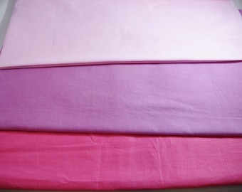 Cotton Fabrics,  3 Different Colors, Pink, Hot Pink, Fuchsia, Total Of 3 Yards