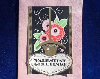 Art Nouveau Valentine Card c.1917 Gorgeous Paper