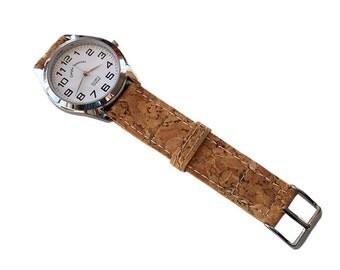 Men's Wrist Watch, Watches for Men Cork, Cork Strap Vegan Wrist Watch