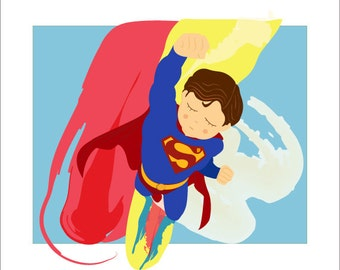 Superman Squishy - Cartoon Superhero Illustration Print
