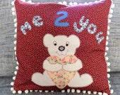 Handmade baby/ baby shower gift, Nursery decor: Teddy + love heart applique cushion with pom pom trim. Gift- birthday, christening, new baby