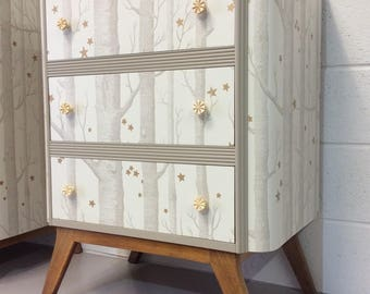 Stunning Mid-Century Chest Of Drawers Up-Cycled With Cole and Son Woods & Stars Wallpaper and Farrow and Ball Paint