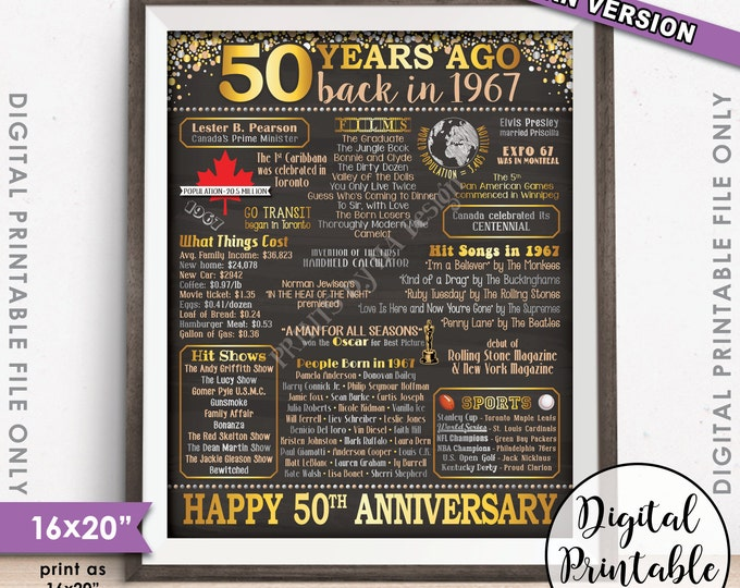 """50th Anniversary Gift 1967 Poster, 50 Years CANADA Flashback Instant Download 8x10/16x20"""" Married in 1967 50th Chalkboard Style Printable"""