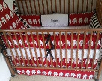 Alabama red elephants and black stripes baby bedding set, red elephants with black stripes baby bedding set.