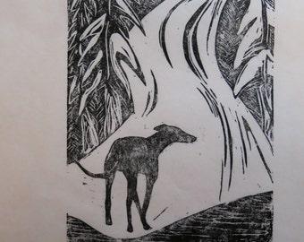 Greyhound in Snow art block print