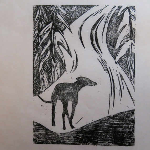 Greyhound in Snow art block print