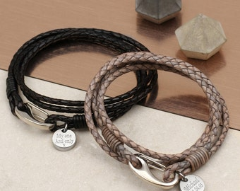 Personalised Leather Triple Wrap Bracelet