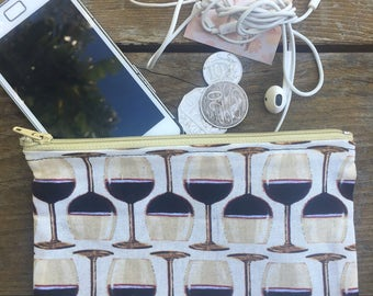 Handmade in Australian with Red Wine Glasses Coin purse , makeup bag , mobile holder , opal card holder , bag organisers.