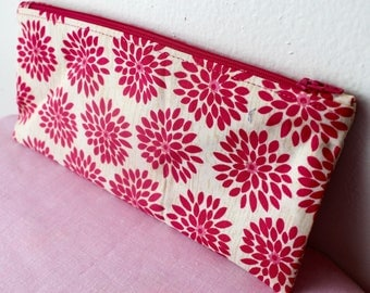 Dark Pink Floral Pencil Case