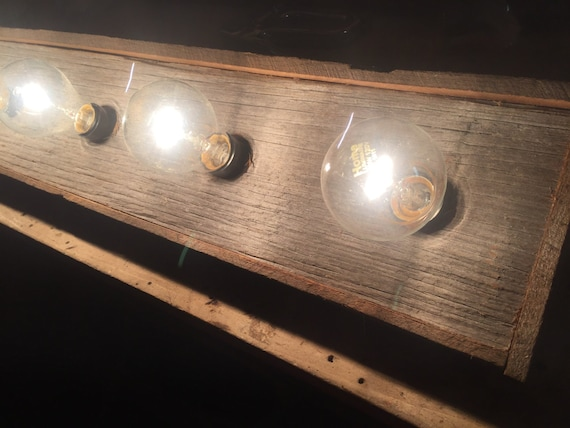 Bathroom Vanity Lights Etsy : 4 bulb barnwood Rustic vanity light