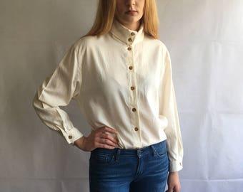 Vintage Off-White Button Up Turtleneck Blouse
