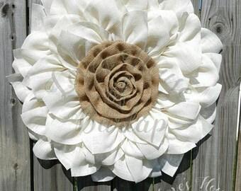 Burlap Flower Wreath, Flower wreath,  Front door wreath, Wedding wreath, Burlap Wreath, Year Round Wreath, Spring Wreath, Wreath
