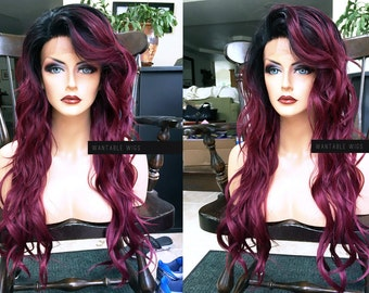 Red Lace Front Wig // Long & Curly Ombre Wine Red + Heat OK Burgundy Skin Top Wavy Wig w/ Dark Root
